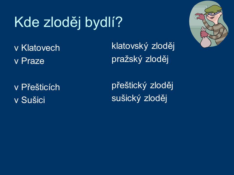 Kde zloděj bydlí? klatovský zloděj pražský zloděj přeštický zloděj sušický zloděj v Klatovech v Praze v Přešticích v Sušici