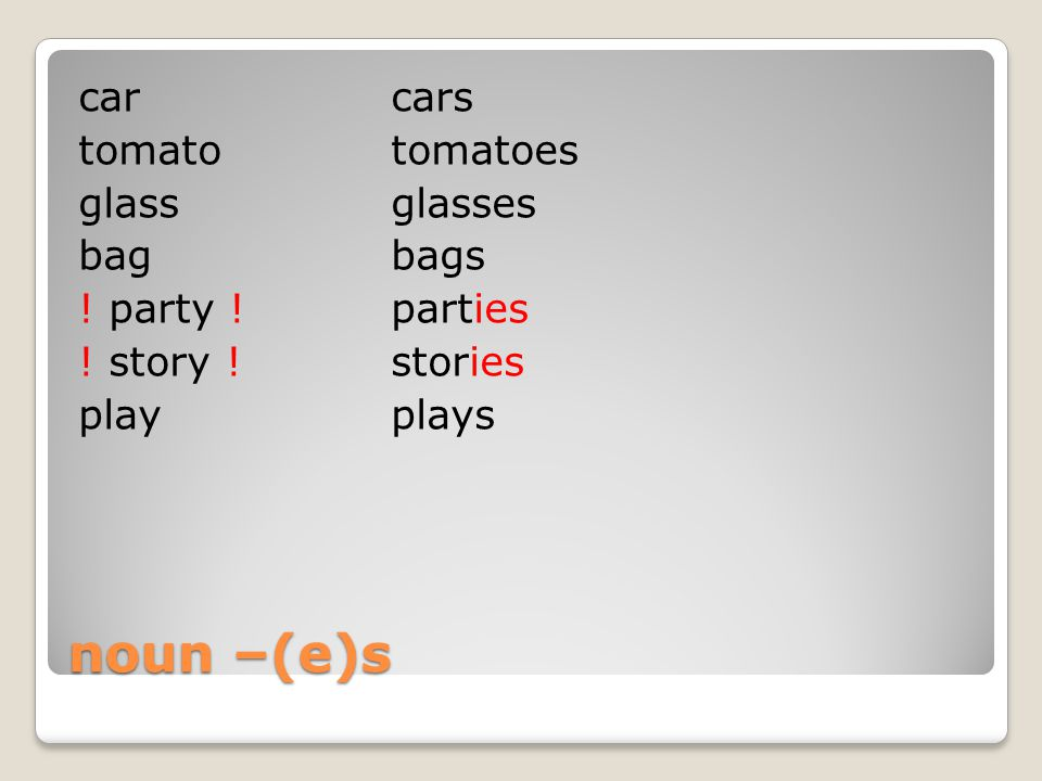 noun –(e)s carcars tomatotomatoes glassglasses bagbags ! party !parties ! story !stories playplays