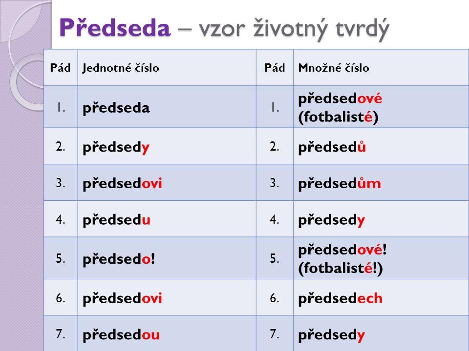 Předseda – vzor životný tvrdý PádJednotné čísloPádMnožné číslo 1. předseda 1. předsedové (fotbalisté) 2. předsedy 2. předsedů 3. předsedovi 3. předsed