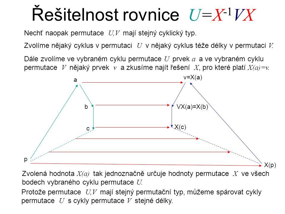 Řešitelnost rovnice U=X -1 VX Nechť naopak permutace U,V mají stejný cyklický typ.
