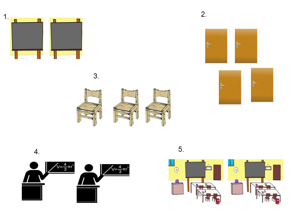 two blackboards four doors three chairs two classroomstwo teachers 1. 2. 3. 4. 5.