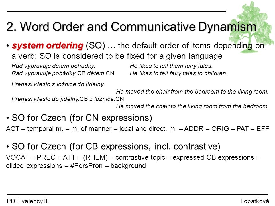 PDT: valency II. Lopatková system ordering system ordering (SO) … the default order of items depending on a verb; SO is considered to be fixed for a g