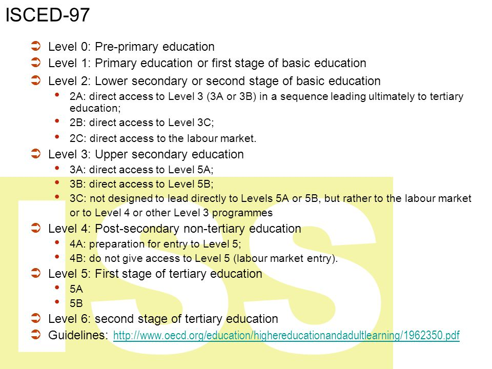 ISS ISCED-97  Level 0: Pre-primary education  Level 1: Primary education or first stage of basic education  Level 2: Lower secondary or second stage of basic education 2A: direct access to Level 3 (3A or 3B) in a sequence leading ultimately to tertiary education; 2B: direct access to Level 3C; 2C: direct access to the labour market.