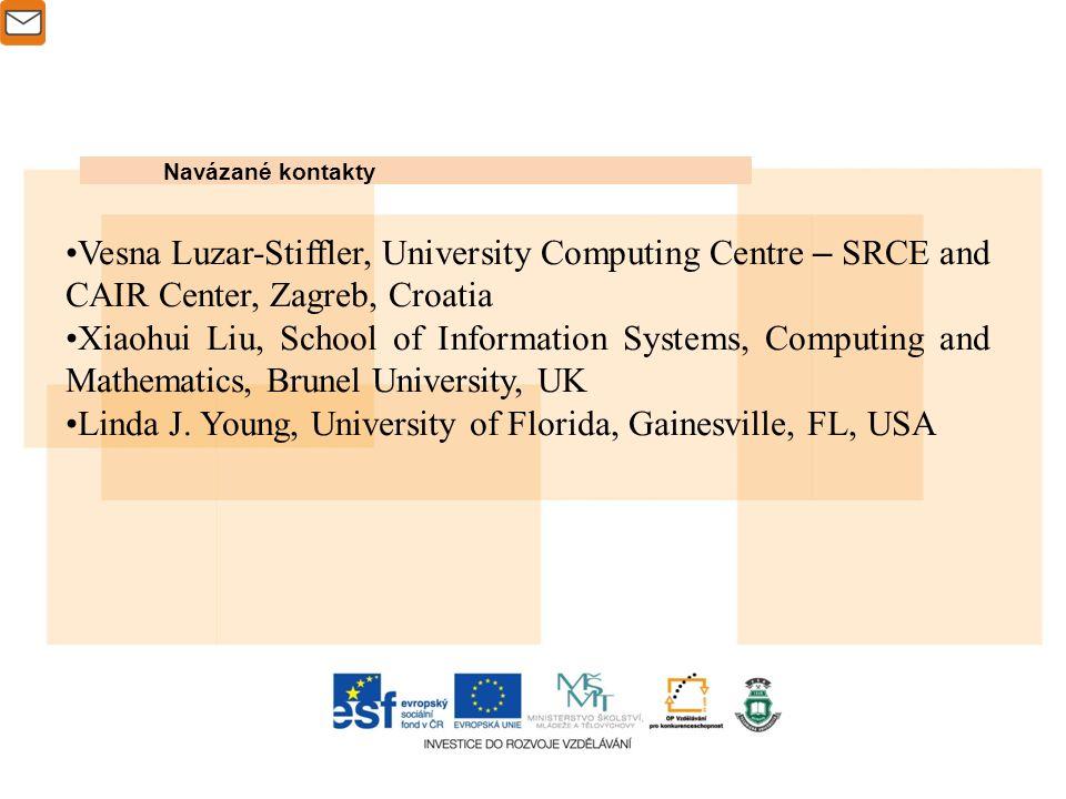 Navázané kontakty Vesna Luzar-Stiffler, University Computing Centre – SRCE and CAIR Center, Zagreb, Croatia Xiaohui Liu, School of Information Systems