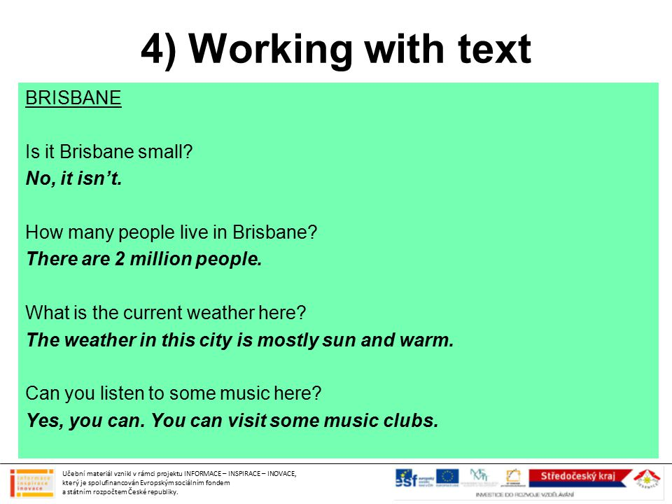 4) Working with text BRISBANE Is it Brisbane small.