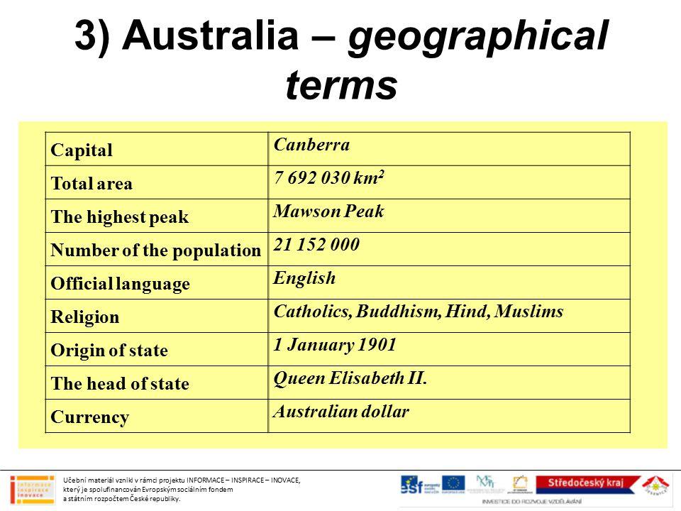 3) Australia – geographical terms Učební materiál vznikl v rámci projektu INFORMACE – INSPIRACE – INOVACE, který je spolufinancován Evropským sociálním fondem a státním rozpočtem České republiky.