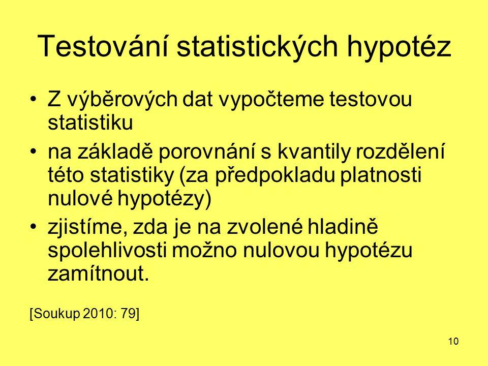 10 Testování statistických hypotéz Z výběrových dat vypočteme testovou statistiku na základě porovnání s kvantily rozdělení této statistiky (za předpo