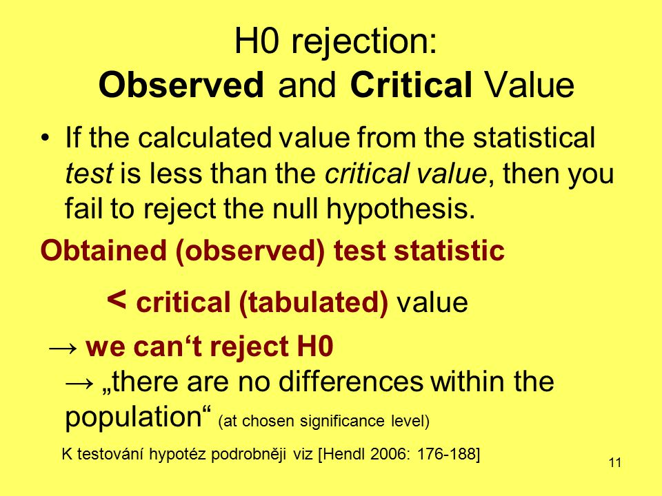 11 H0 rejection: Observed and Critical Value If the calculated value from the statistical test is less than the critical value, then you fail to rejec
