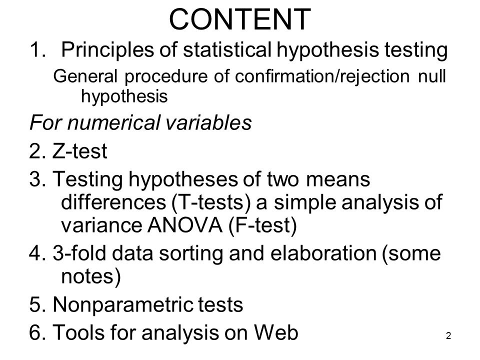 Principles of statistical hypothesis testing