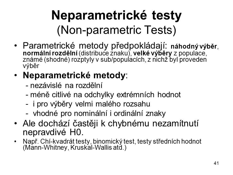 41 Neparametrické testy (Non-parametric Tests) Parametrické metody předpokládají: náhodný výběr, normální rozdělní (distribuce znaku), velké výběry z