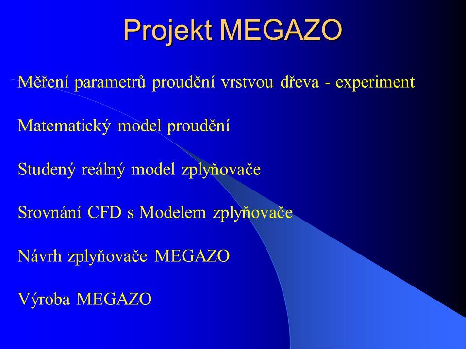 Měření parametrů proudění vrstvou dřeva - experiment Matematický model proudění Studený reálný model zplyňovače Srovnání CFD s Modelem zplyňovače Návr