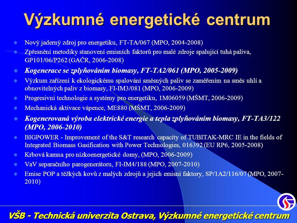 Nový jaderný zdroj pro energetiku, FT-TA/067 (MPO, 2004-2008) Zpřesnění metodiky stanovení emisních faktorů pro malé zdroje spalující tuhá paliva, GP1