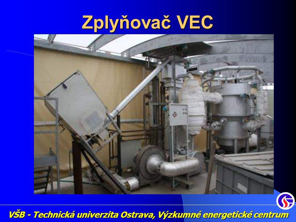 """Další výzkum v oblasti zplyňování Zplyňování obohaceným vzduchem 21-100% O2 přidání vodní páry do zplyňovací komory Předehřev vzduchu - 20-450°C paliva - 20-600°C Úprava energoplynu Vysokoteplotní filtrace Katalytické """"odstraňování dehtů Výroba energie Spalovací motor pracující v režimu kogenerace VŠB - Technická univerzita Ostrava, Výzkumné energetické centrum"""