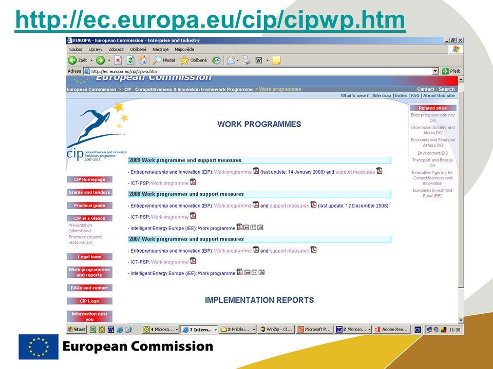 Vytváření jednotného evropského informačního prostoru Posilování vnitřního evropského trhu ICT a výrobků založených na informačních a komunikačních technologiích a službách Stimulace inovací prostřednictvím širokého uplatnění a investování do ICT Vytváření informační společnosti přístupné pro všechny a výkonnějších a efektivnějších služeb pro veřejnost Zlepšování kvality života (ICT PSP) - Program na podporu politiky informačních a komunikačních technologií