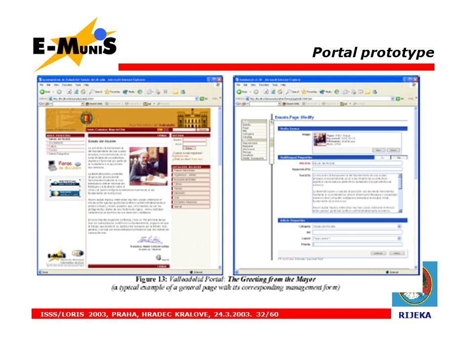 ISSS/LORIS 2003, PRAHA, HRADEC KRALOVE, 24.3.2003. 32/60 RIJEKA RIJEKA. Portal prototype