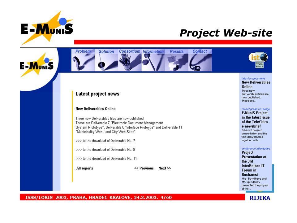 ISSS/LORIS 2003, PRAHA, HRADEC KRALOVE, 24.3.2003. 4/60 RIJEKA RIJEKA. Project Web-site