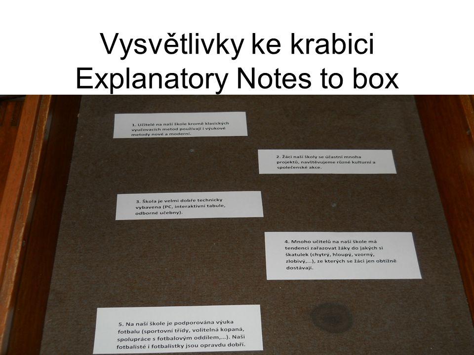 Vysvětlivky ke krabici Explanatory Notes to box