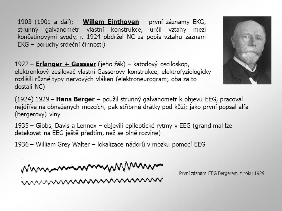 Erlanger + Gassser 1922 – Erlanger + Gassser (jeho žák) – katodový osciloskop, elektronkový zesilovač vlastní Gasserovy konstrukce, elektrofyziologick