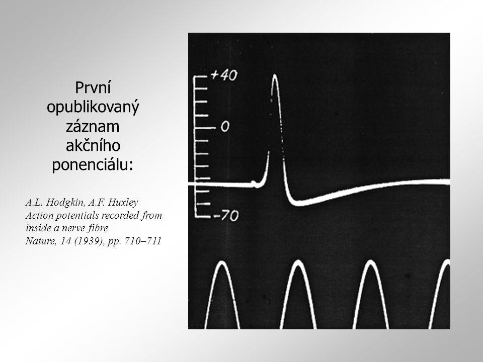 První opublikovaný záznam akčního ponenciálu: A.L. Hodgkin, A.F. Huxley Action potentials recorded from inside a nerve fibre Nature, 14 (1939), pp. 71