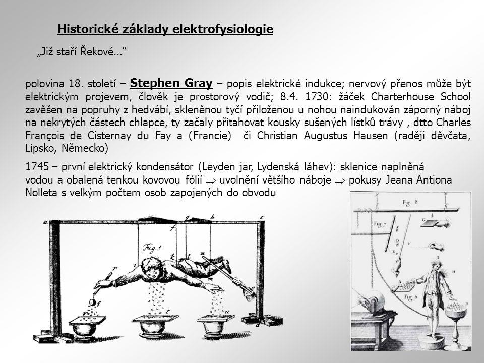 Historické základy elektrofysiologie Stephen Gray polovina 18. století – Stephen Gray – popis elektrické indukce; nervový přenos může být elektrickým