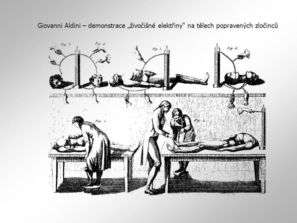 1791 – polemika Galvani - Volta Galvani: záškuby žabích stehýnek jsou projevem bioelektřiny v živé struktuře x Volta: důvod záškubů je čistě fyzikálně- chemický, kdy v důsledku kontaktu dvou kovů vzniká tzv.