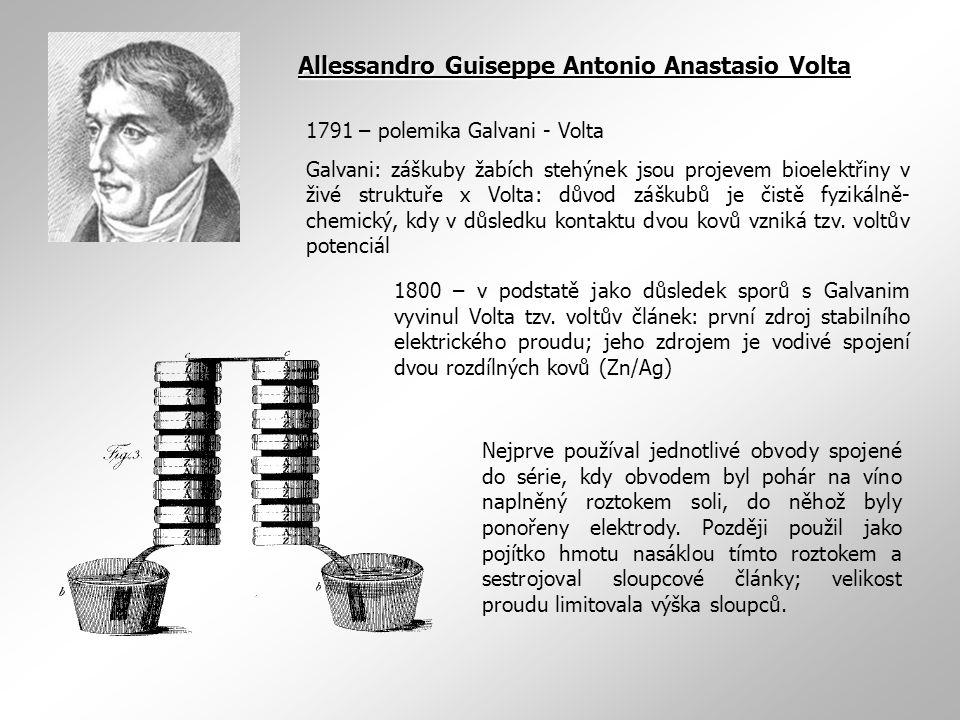 1791 – polemika Galvani - Volta Galvani: záškuby žabích stehýnek jsou projevem bioelektřiny v živé struktuře x Volta: důvod záškubů je čistě fyzikálně