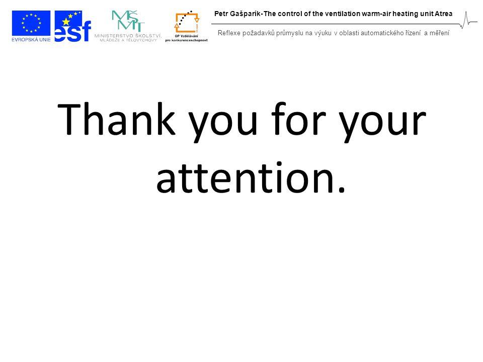 Thank you for your attention. Reflexe požadavků průmyslu na výuku v oblasti automatického řízení a měření Petr Gašparík-The control of the ventilation