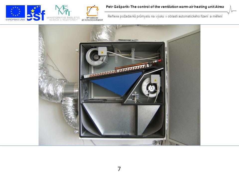 Control algorithm 18 Reflexe požadavků průmyslu na výuku v oblasti automatického řízení a měření Petr Gašparík-The control of the ventilation warm-air heating unit Atrea