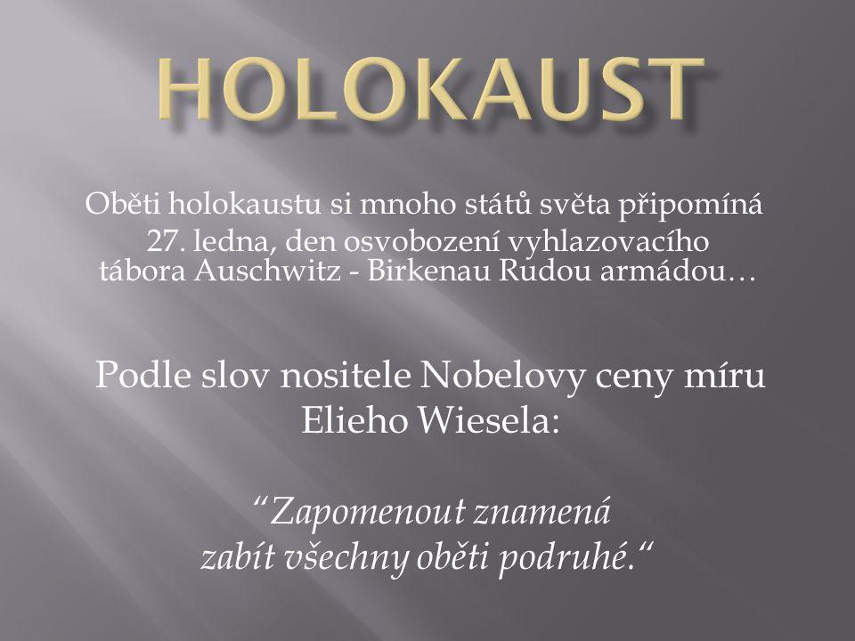 Oběti holokaustu si mnoho států světa připomíná 27. ledna, den osvobození vyhlazovacího tábora Auschwitz - Birkenau Rudou armádou… Podle slov nositele