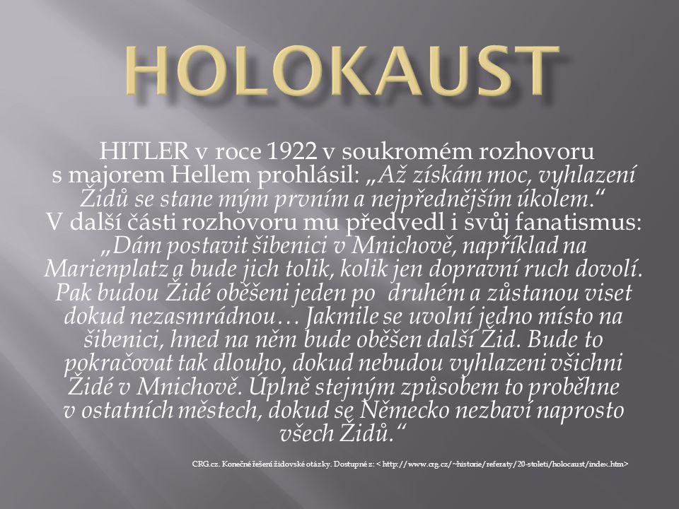 """HITLER v roce 1922 v soukromém rozhovoru s majorem Hellem prohlásil: """" Až získám moc, vyhlazení Židů se stane mým prvním a nejpřednějším úkolem."""" V da"""