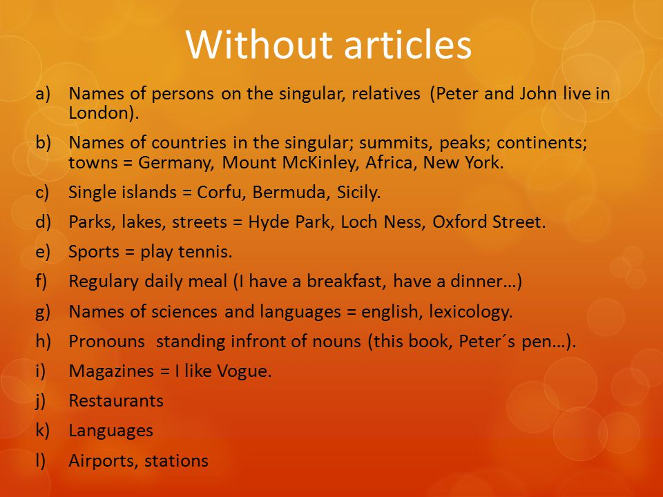 """Exercise – definite article Decide whether to use the definite article """"the or not."""