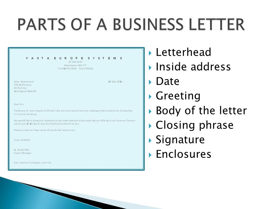  Letterhead  Inside address  Date  Greeting  Body of the letter  Closing phrase  Signature  Enclosures