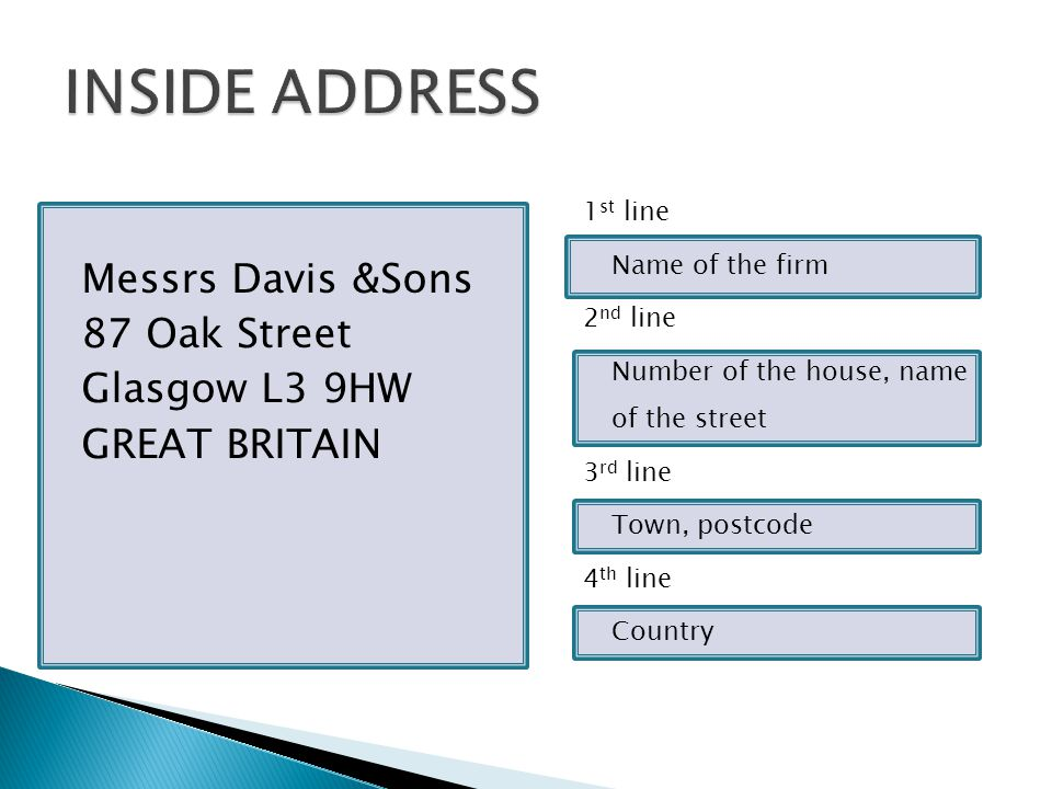 Messrs Davis &Sons 87 Oak Street Glasgow L3 9HW GREAT BRITAIN 1 st line Name of the firm 2 nd line Number of the house, name of the street 3 rd line Town, postcode 4 th line Country