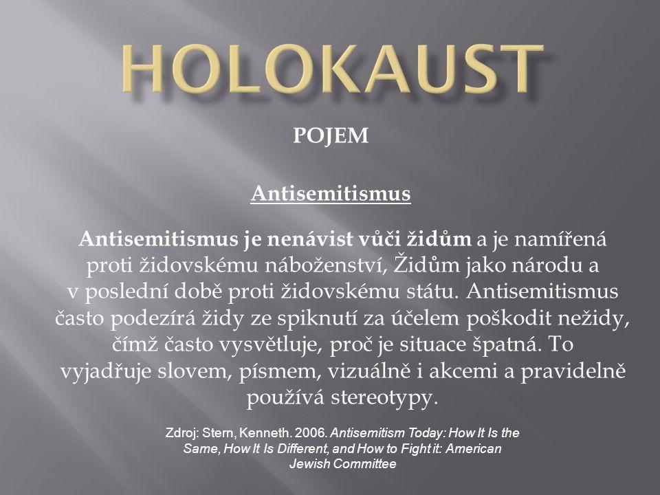 POJEM Antisemitismus Antisemitismus je nenávist vůči židům a je namířená proti židovskému náboženství, Židům jako národu a v poslední době proti židov