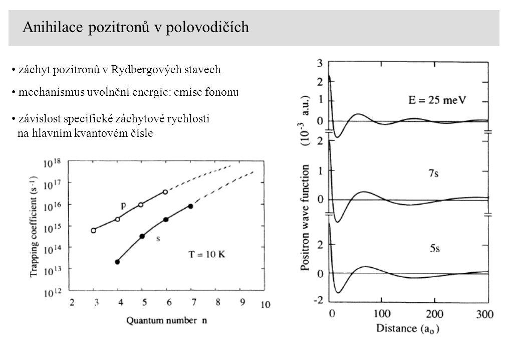 Anihilace pozitronů v polovodičích záchyt pozitronů v Rydbergových stavech mechanismus uvolnění energie: emise fononu závislost specifické záchytové rychlosti na hlavním kvantovém čísle