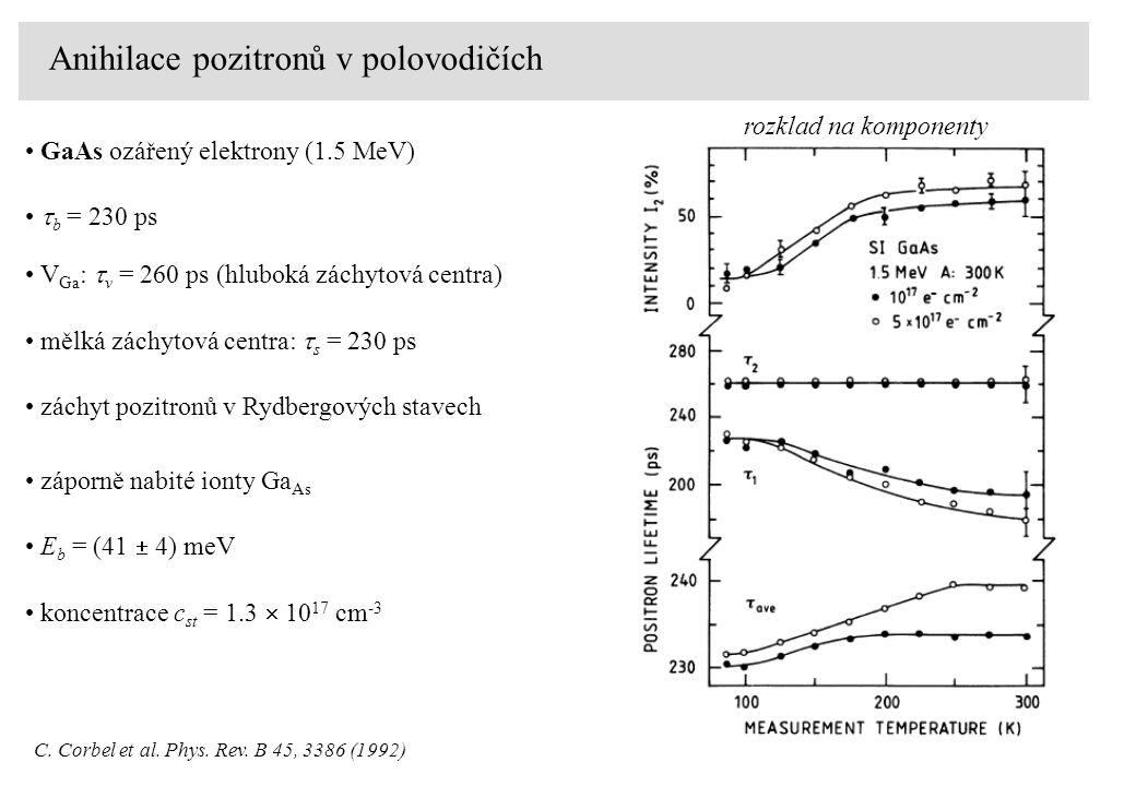 Anihilace pozitronů v polovodičích GaAs ozářený elektrony (1.5 MeV) rozklad na komponenty C.