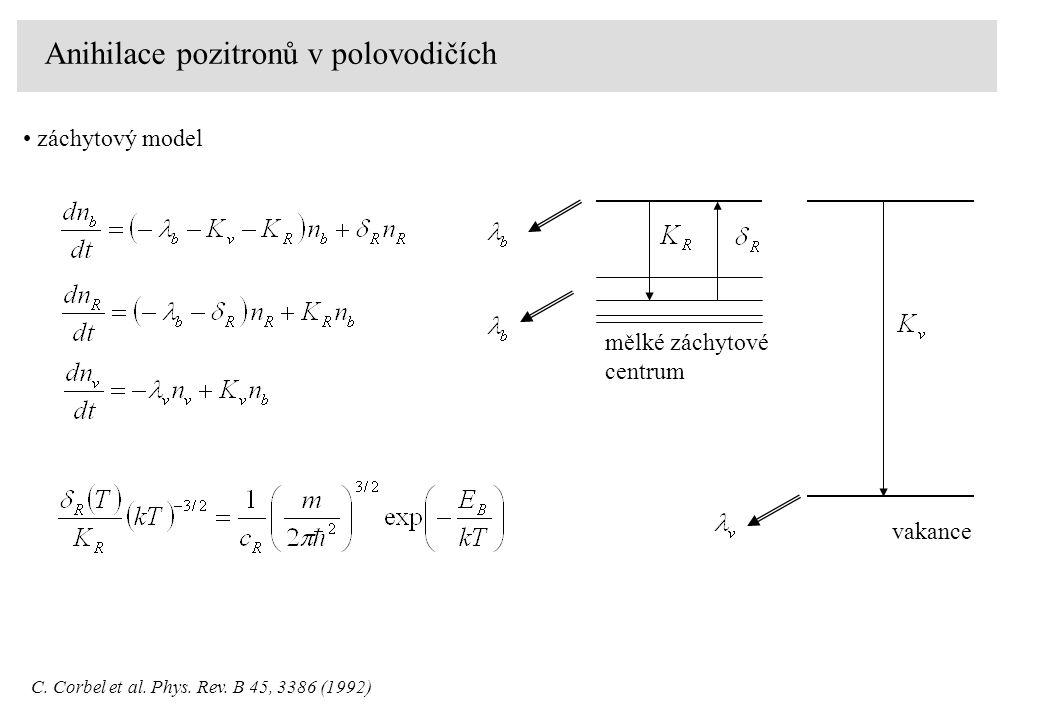 Anihilace pozitronů v polovodičích záchytový model C.
