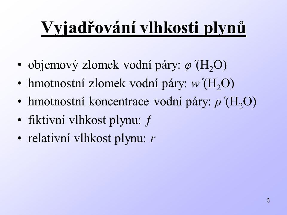 3 Vyjadřování vlhkosti plynů objemový zlomek vodní páry: φ΄(H 2 O) hmotnostní zlomek vodní páry: w΄(H 2 O) hmotnostní koncentrace vodní páry: ρ΄(H 2 O