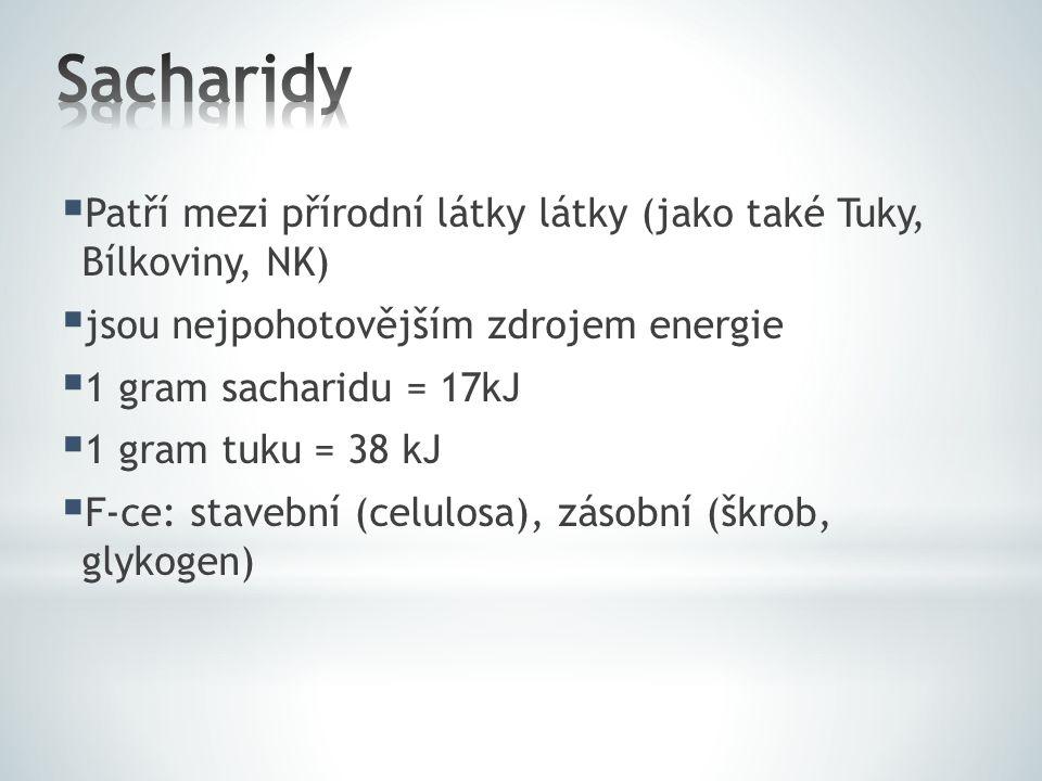  Patří mezi přírodní látky látky (jako také Tuky, Bílkoviny, NK)  jsou nejpohotovějším zdrojem energie  1 gram sacharidu = 17kJ  1 gram tuku = 38