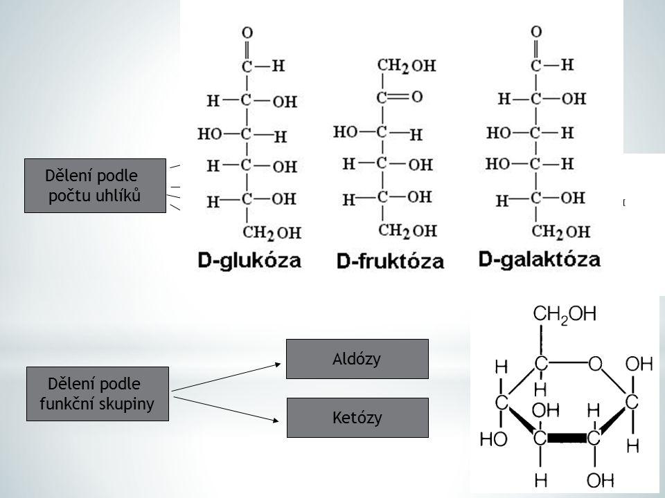 Dělení podle počtu uhlíků Triózy Tetrózy Pentózy Dělení podle funkční skupiny Ketózy Aldózy