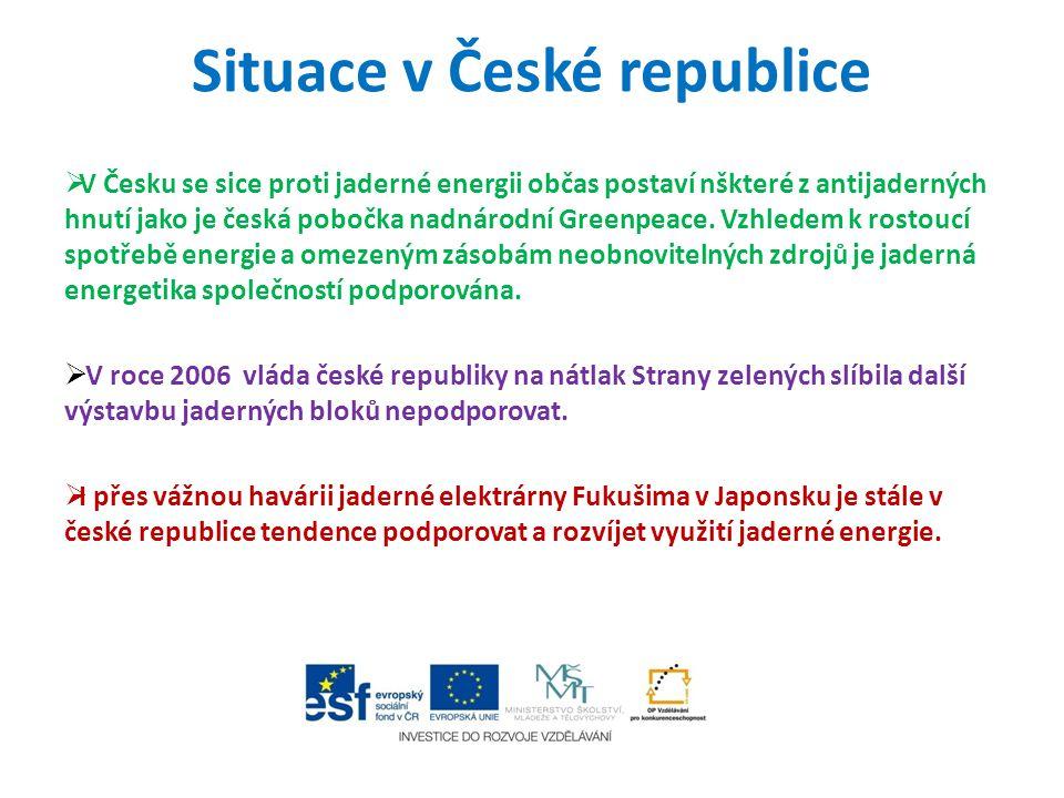 Situace v České republice  V Česku se sice proti jaderné energii občas postaví nškteré z antijaderných hnutí jako je česká pobočka nadnárodní Greenpe