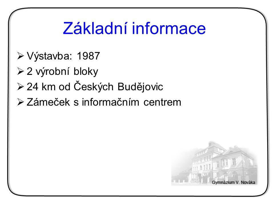 Základní informace  Výstavba: 1987  2 výrobní bloky  24 km od Českých Budějovic  Zámeček s informačním centrem