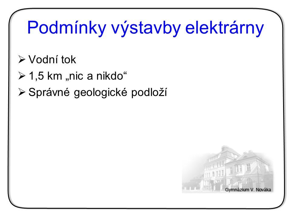 """Podmínky výstavby elektrárny  Vodní tok  1,5 km """"nic a nikdo""""  Správné geologické podloží"""