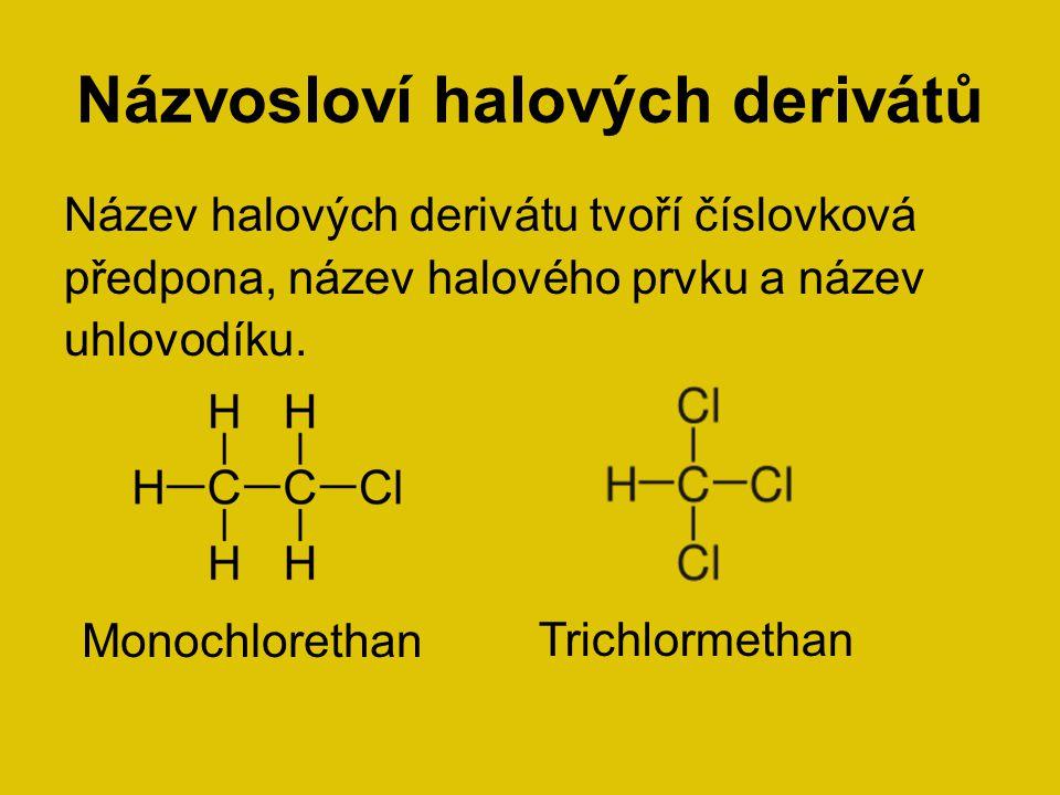 Názvosloví halových derivátů Název halových derivátu tvoří číslovková předpona, název halového prvku a název uhlovodíku. Monochlorethan Trichlormethan