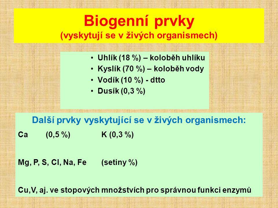 Biogenní prvky (vyskytují se v živých organismech) Uhlík (18 %) – koloběh uhlíku Kyslík (70 %) – koloběh vody Vodík (10 %) - dtto Dusík (0,3 %) Další prvky vyskytující se v živých organismech: Ca (0,5 %) K (0,3 %) Mg, P, S, Cl, Na, Fe (setiny %) Cu,V, aj.