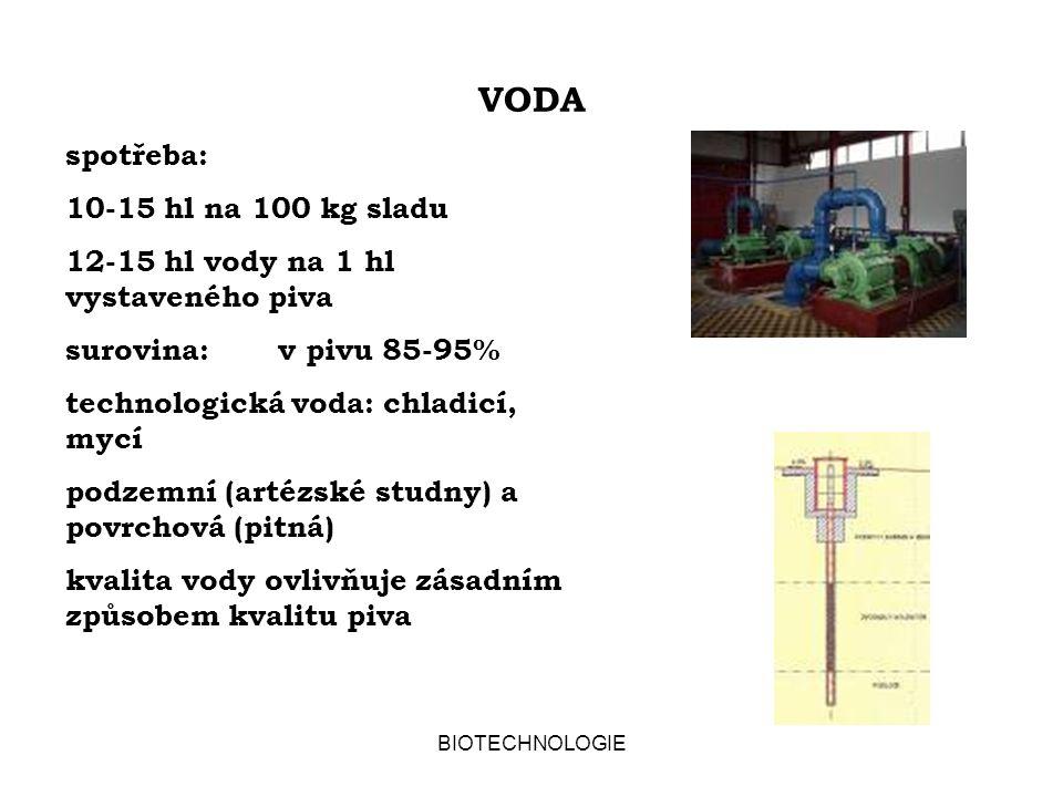 BIOTECHNOLOGIE VODA spotřeba: 10-15 hl na 100 kg sladu 12-15 hl vody na 1 hl vystaveného piva surovina:v pivu 85-95% technologická voda: chladicí, mycí podzemní (artézské studny) a povrchová (pitná) kvalita vody ovlivňuje zásadním způsobem kvalitu piva