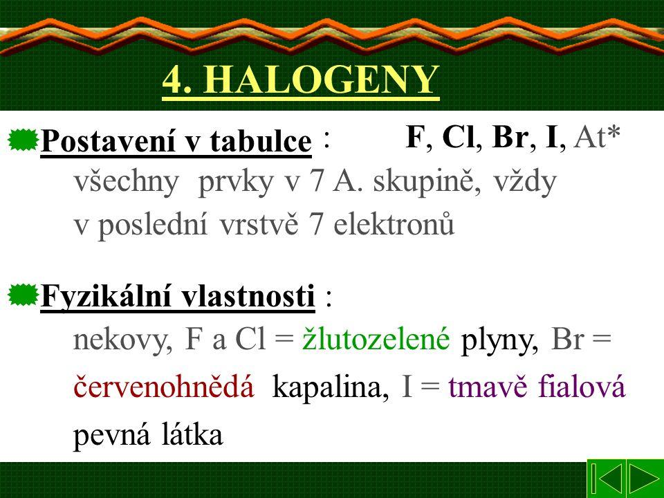 4. HALOGENY : F, F, Cl, Cl, Br Br, II, II, At* všechny prvky v 7 A. skupině, vždy v poslední vrstvě 7 elektronů  Postavení v tabulce nekovy, F a Cl =