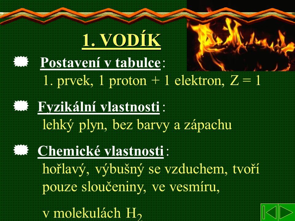 1. VODÍK  : 1. prvek, 1 proton + 1 elektron, Z = 1  : lehký plyn, bez barvy a zápachu  : hořlavý, výbušný se vzduchem, tvoří pouze sloučeniny, ve v