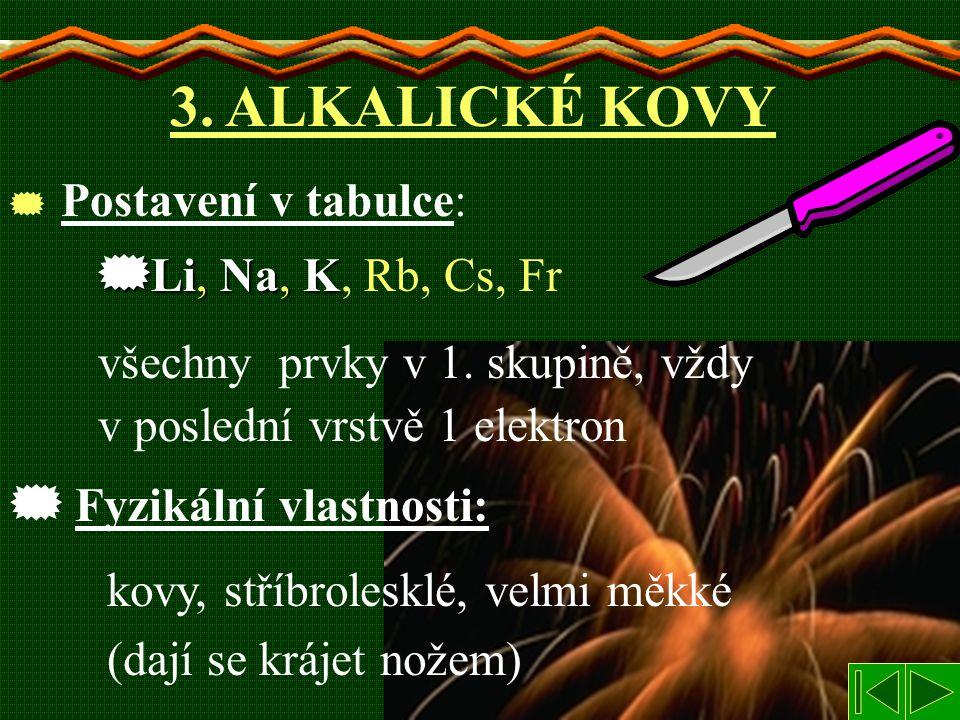 Postavení v tabulce: 3. ALKALICKÉ KOVY  Li,  Li, Na, Na, K K, Rb, Cs, Fr všechny prvky v 1. skupině, vždy v poslední vrstvě 1 elektron kovy, stříb