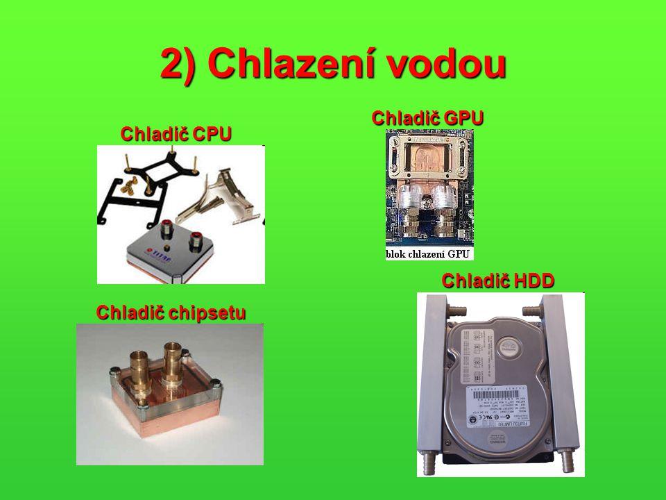 2) Chlazení vodou Chladič CPU Chladič GPU Chladič chipsetu Chladič HDD